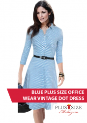 Blue Plus Size Office Wear Vintage Dot Dress