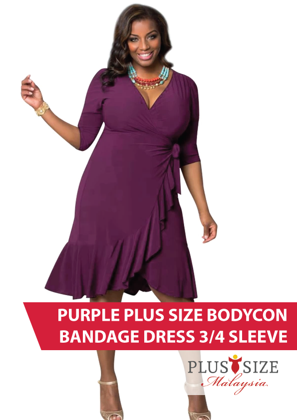 Buy Dress Plus Size Malaysia Purple Bodycon Bandage 34 Sleeve