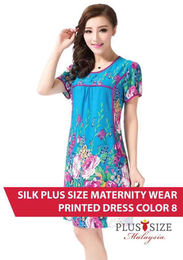 Buy Plus Size Maternity Wear Malaysia Silk Printed Dress Color 8 ...